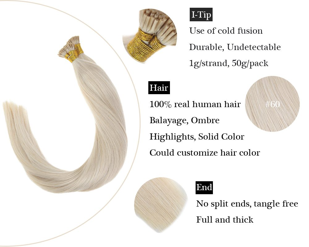 Keratin I Tip Lightest Blonde Human Hair Extensions
