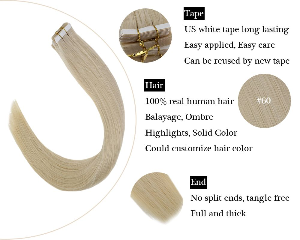 Tape in  Human Hair Extensions Lightest Blonde