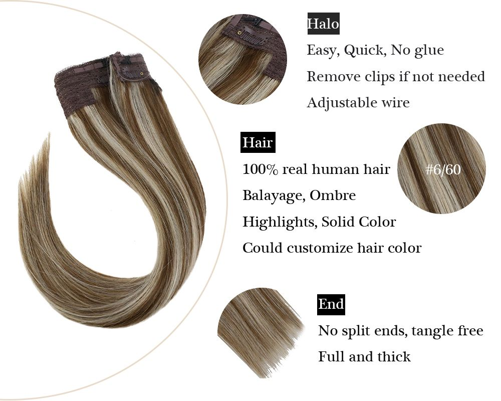 Fishing Line Halo Human Hair Extensions Balayage Brown Mixed Blonde