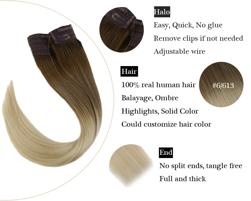 Balayage Halo Human Hair Extensions  Silky Brown with Blonde No Glue