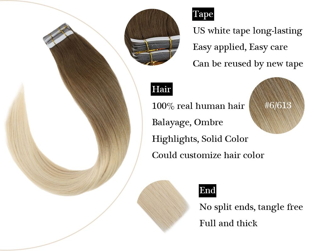 Ombre Tape in Balayage Brown and Bleach Blonde  Human Hair Extensions