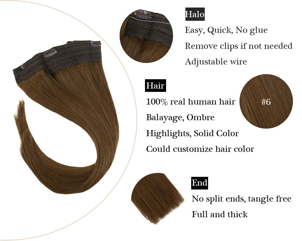 Remy No Glue Medium Brown Hair Halo Human Hair Extensions Silky Straight
