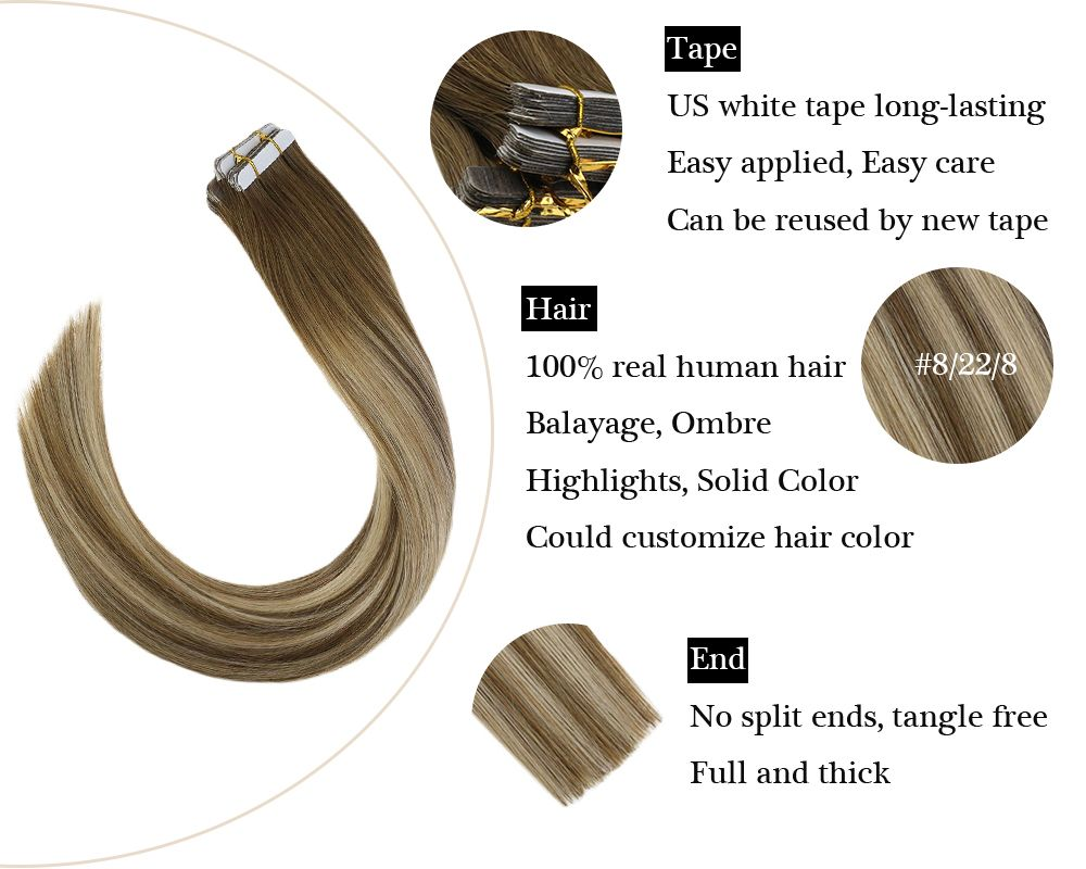 Tape in Human Hair Extensions Balayage Light Brown Mixed Blonde