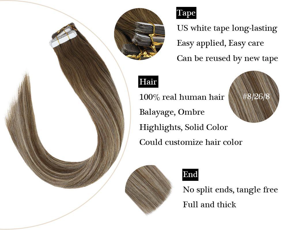 100% Remy hair Tape in Balayage Brown and Blonde  Human Extensions