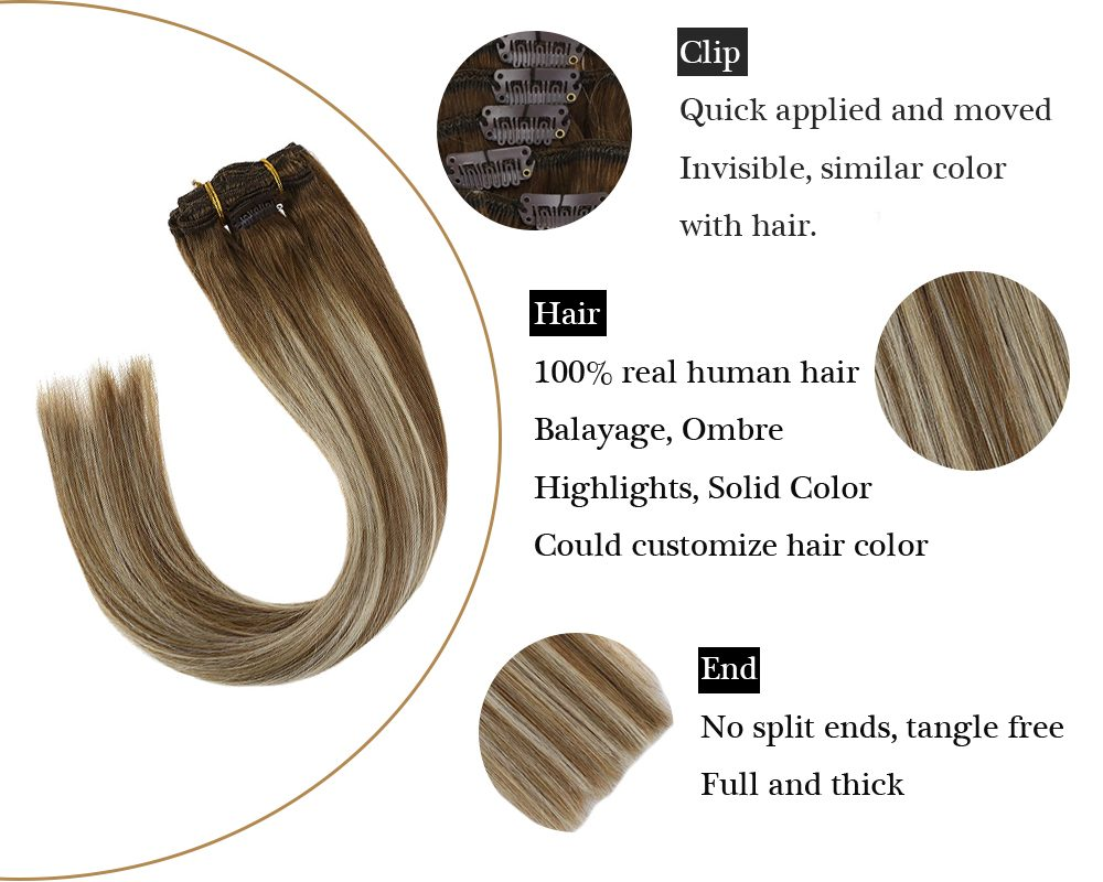 invisible  sunny hair highlights clip in hair extensions balayage brown and blonde
