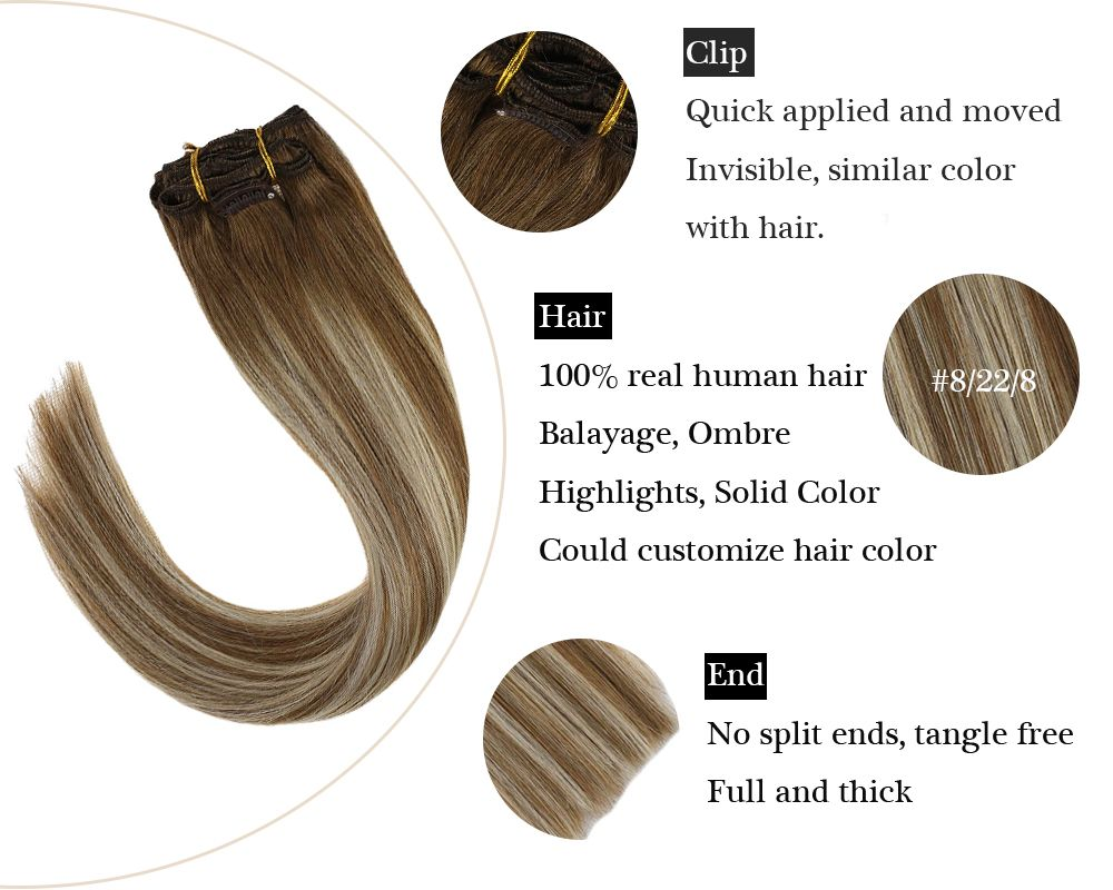 Sunny Hair Clip in Balayage Brown Mixed Blonde Human Hair Extensions