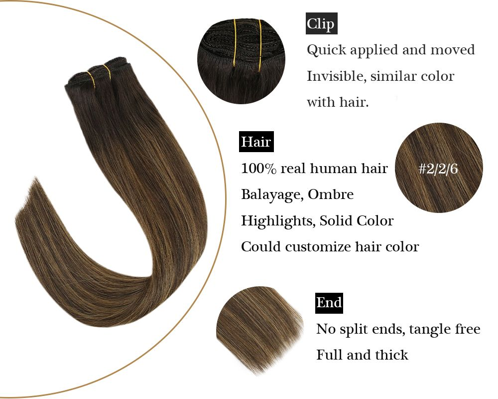 Clip in Human Hair Extensions Balayage Brown