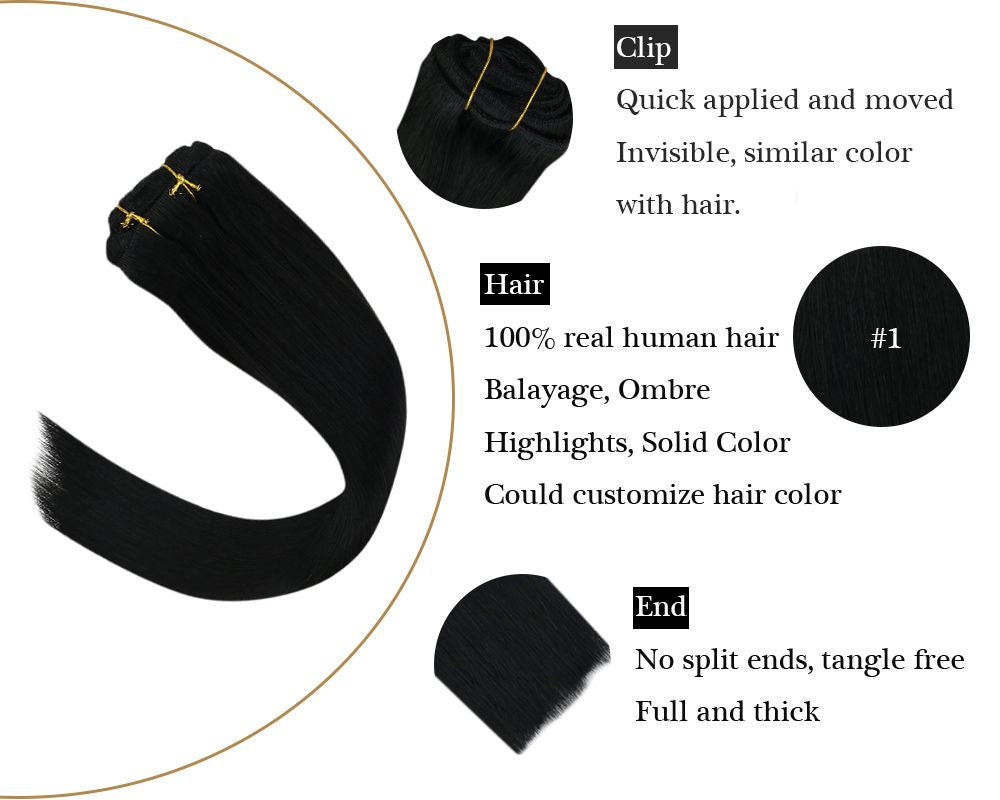 Jet Black Seamless Clip in  Double Weft Human Hair Extensions