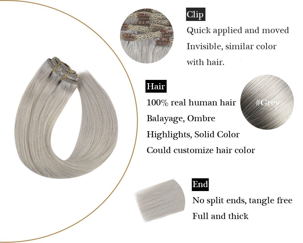 Silky Straight Clip in Human Hair Extensions Grey Color