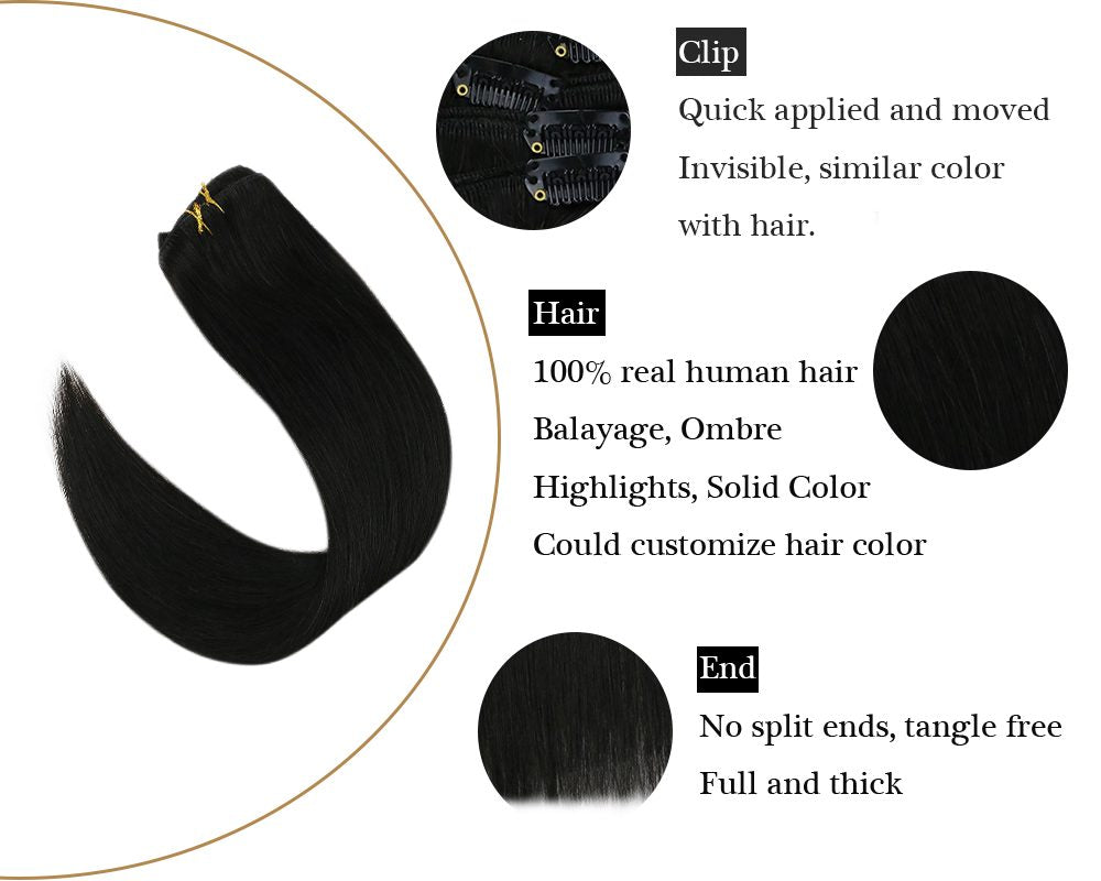 Natural Black Seamless Clip in  Double Weft Human Hair Extensions