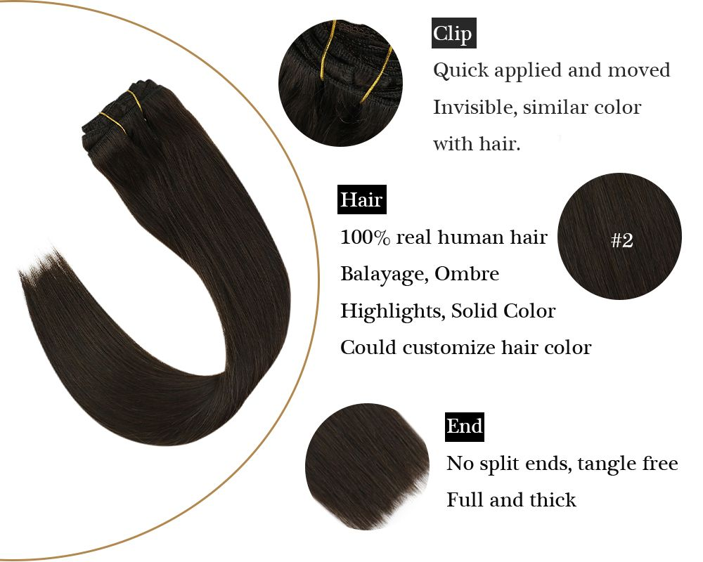 Darkest Brown Color Double Weft Clip in Human Hair Extensions