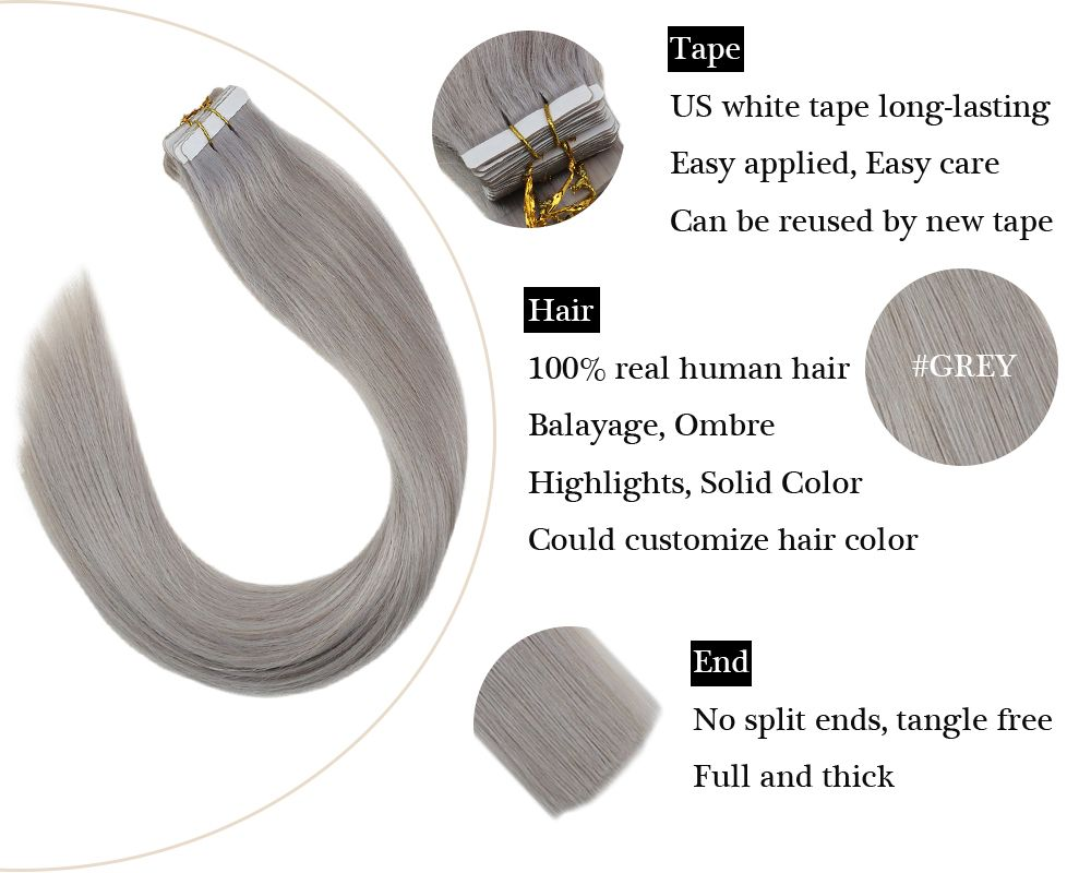 Grey Tape in  Human Hair Extensions