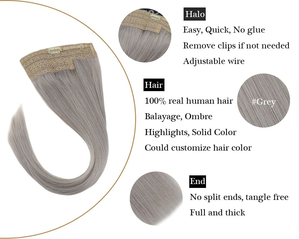 Remy No Glue Grey Hair Halo Human Hair Extensions Silky Straight