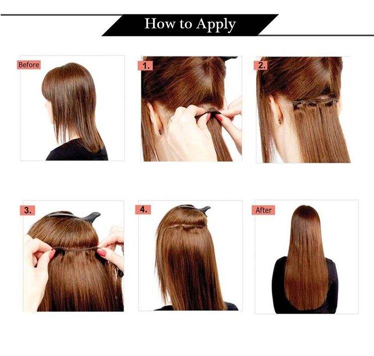 how to apply 100% real human hair clip in