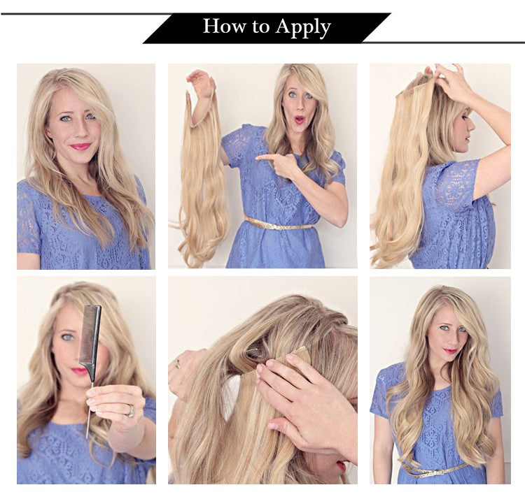 how to apply invisible wire halo human hair