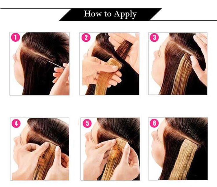 how to apply 100% real human hair tape in