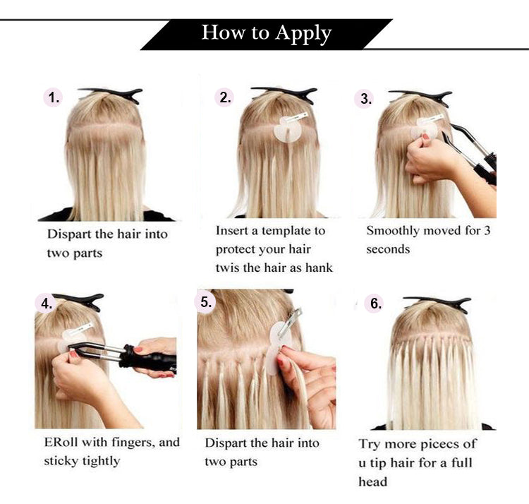 how to apply U tip Keratin human hair