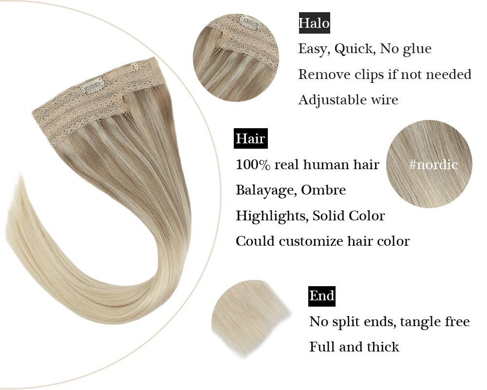 Remy No Glue Nordic Halo Human Hair Extensions Silky Straight
