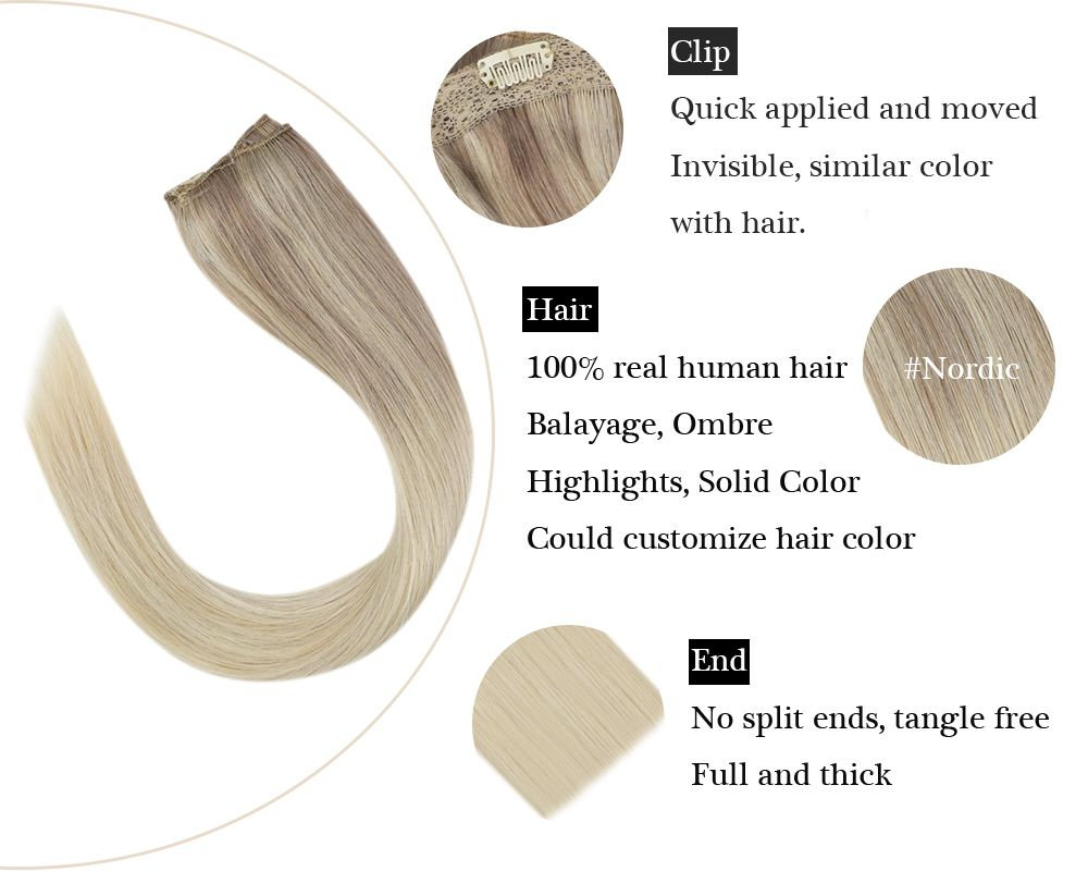 hair extensions clip in balayage Blonde