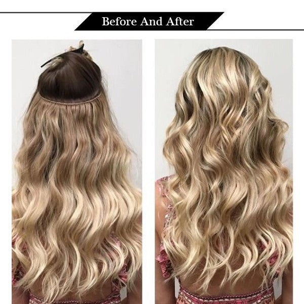 Hand Tied Weft Blonde Highlights Virgin Hair Extensions
