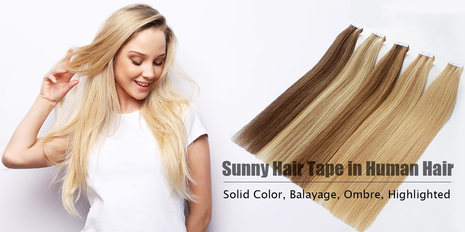 human hair tape in hair extensions balayage blonde and brown