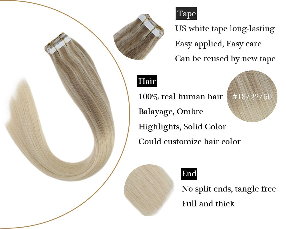 Tape in Blonde Human Hair Extensions Balayage