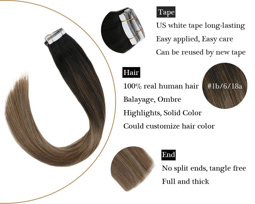 Black to Brown mixed Blonde Tape in Balayage Human Hair Extensions