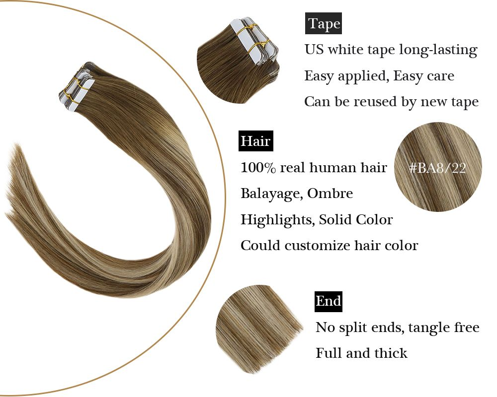 Tape in Human Hair Extensions Brown With Blonde Balayage