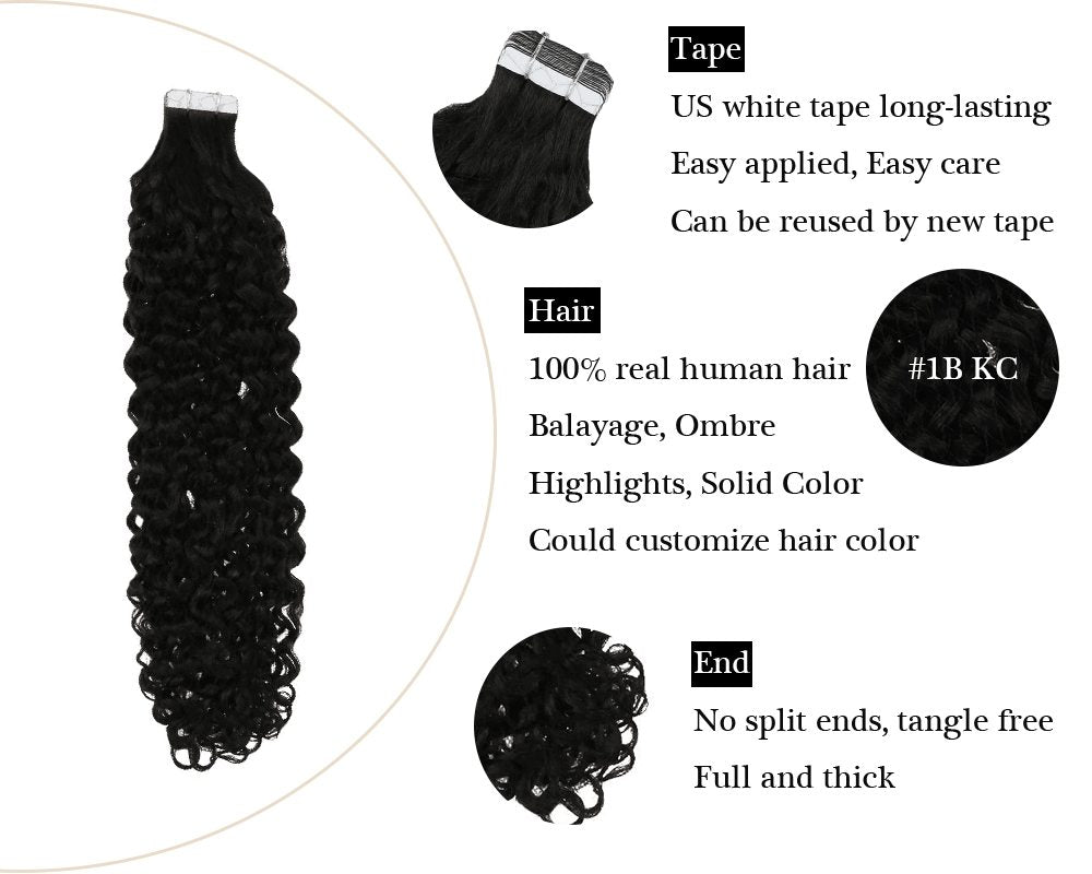 Kinky Curly Tape in Natural Black  Human Hair Extensions