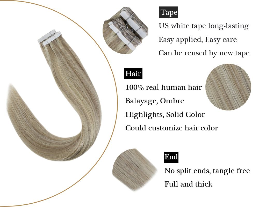 Highlights Tape in Blonde Human Hair Extension