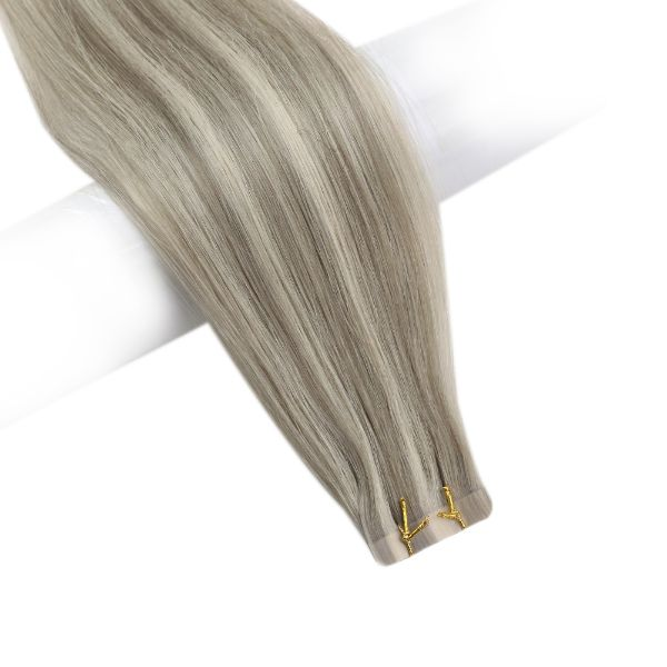 virgin blonde highlights tape in hair extensions