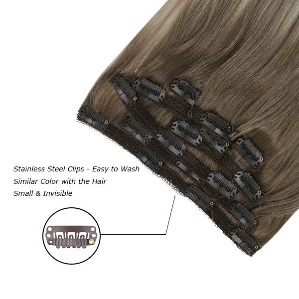 double weft clip in human hair extensions