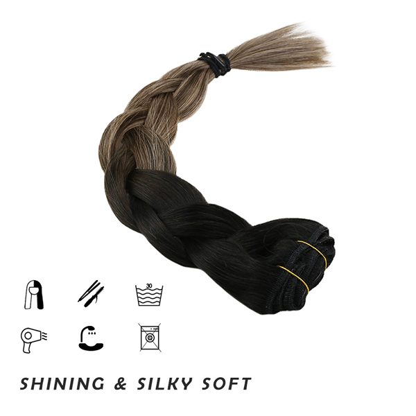 clip in human hair extensions thick