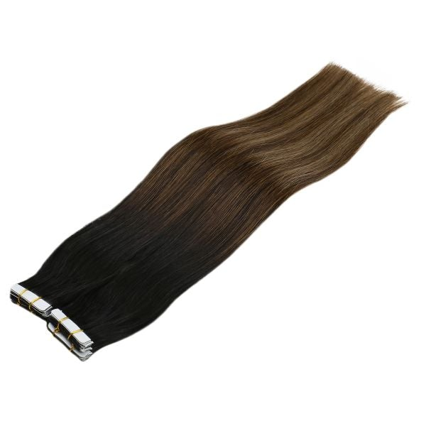 Tape in Balayage Black to Brown with Caramel Blonde Human Hair Extensions #1b/4/27