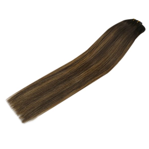 Clip in Human Hair Extensions Balayage Brown Highlights #2/2/6