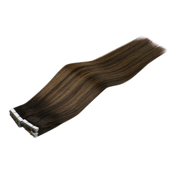 Tape in Balayage Brown Highlights Human Hair Extensions #2/2M6