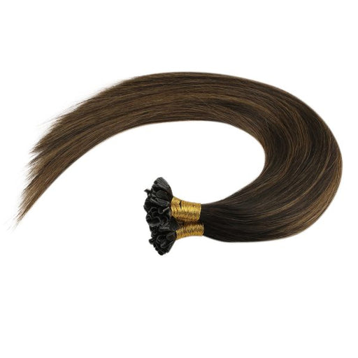 balayage utip hair extensions brown highlights