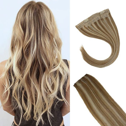 Halo Human Hair Extensions Caramel Blonde Highlight Bleach Blonde #P27/613