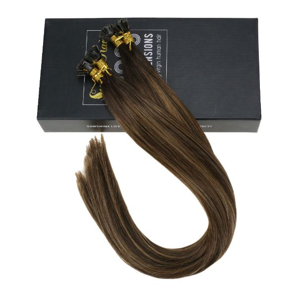 Flat Keratin Tip Balayage Brown Highlights Fusion Hair Extensions #2/6/2