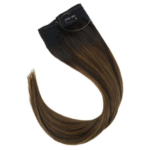 Halo Human Hair Extensions No Glue Silky Straight Balayage Brown #2/2/6