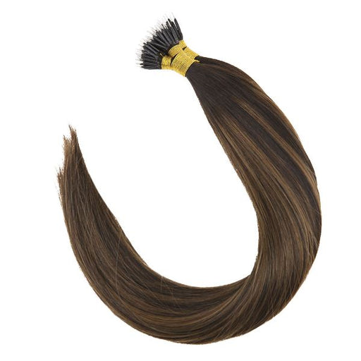 Pre Bonded Nano Ring Darkest Brown Mixed Medium Brown Human Hair Extensions Straight #2/2/6