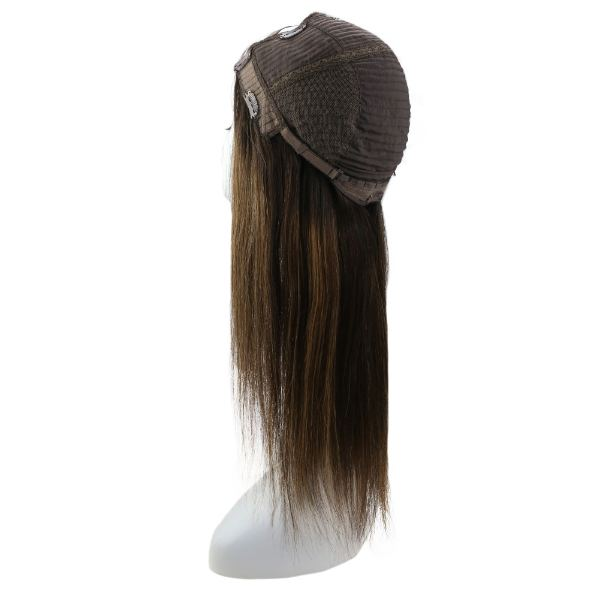 【15% OFF】U Part Half Human Wigs With Clips Balayage Darkest Brown Highlights #2/6/2