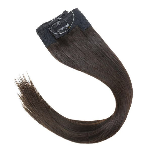 Halo Human Hair Extensions No Glue Silky Straight Darkest Brown #2