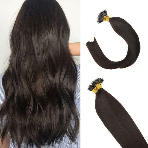 Pre Bonded Nano Ring Darkest Brown Human Hair Extensions Straight #2