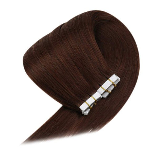 tape in human hair dark auburn