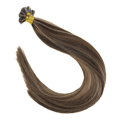 Flat Keratin Tip Brown with Blonde Highlights Human Hair Extensions #P4/27
