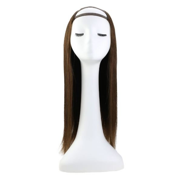 【15% OFF】U Part Human Hair Wigs With Clips Dark Brown Clip in Half Lace Wigs #4