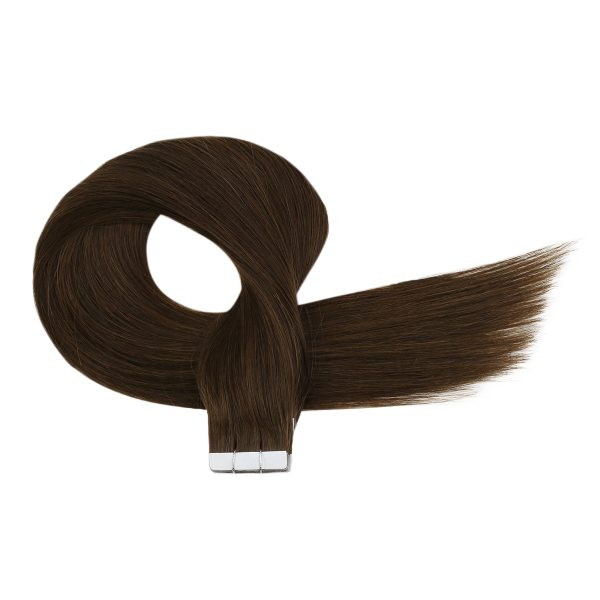 dark brown tape in virgin human hair extensions