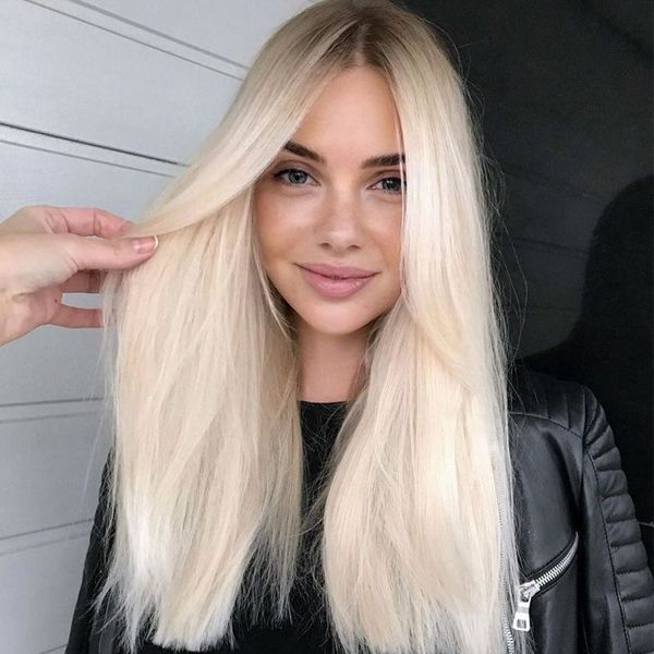 Lace Front Human Hair Wigs with Baby Hair Lightest Blonde #60
