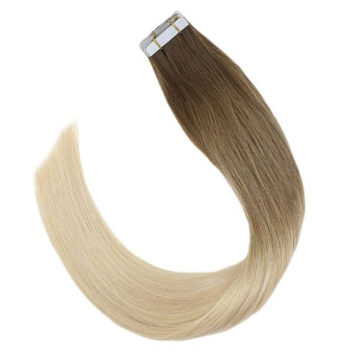Tape in Balayage Brown and Bleach Blonde Ombre Human Hair Extensions #6M613